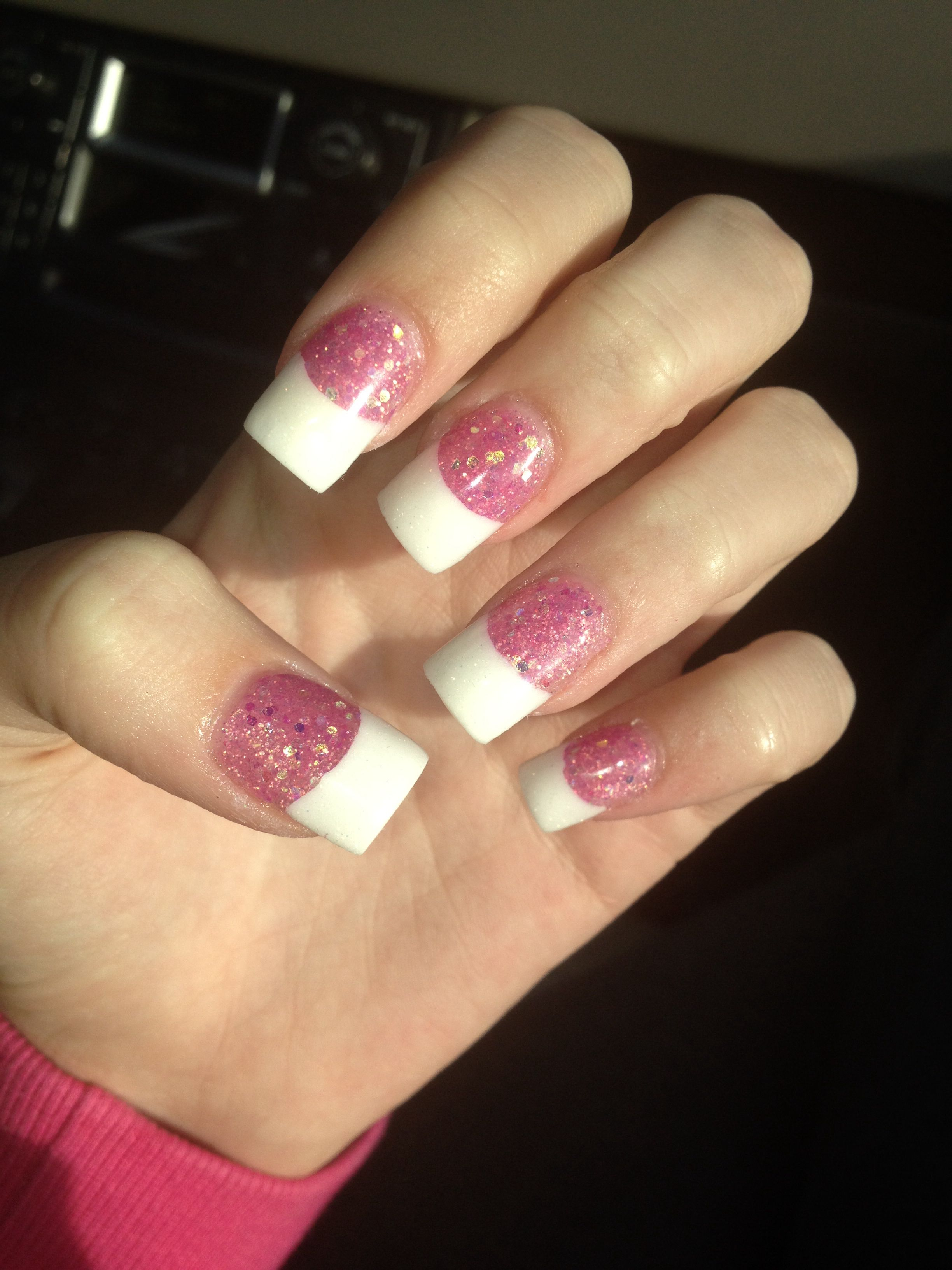 acrylic nails, glitter, pink, french tip | my nails | pinterest