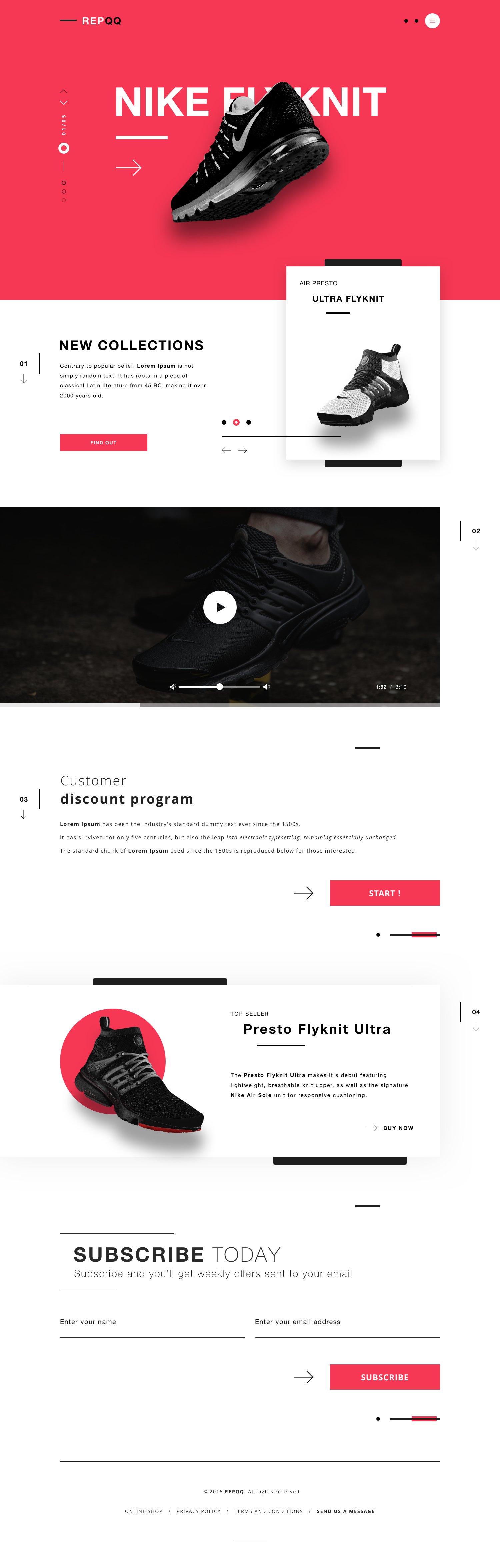 Website landing page nike shoes online shop design for Design online shop