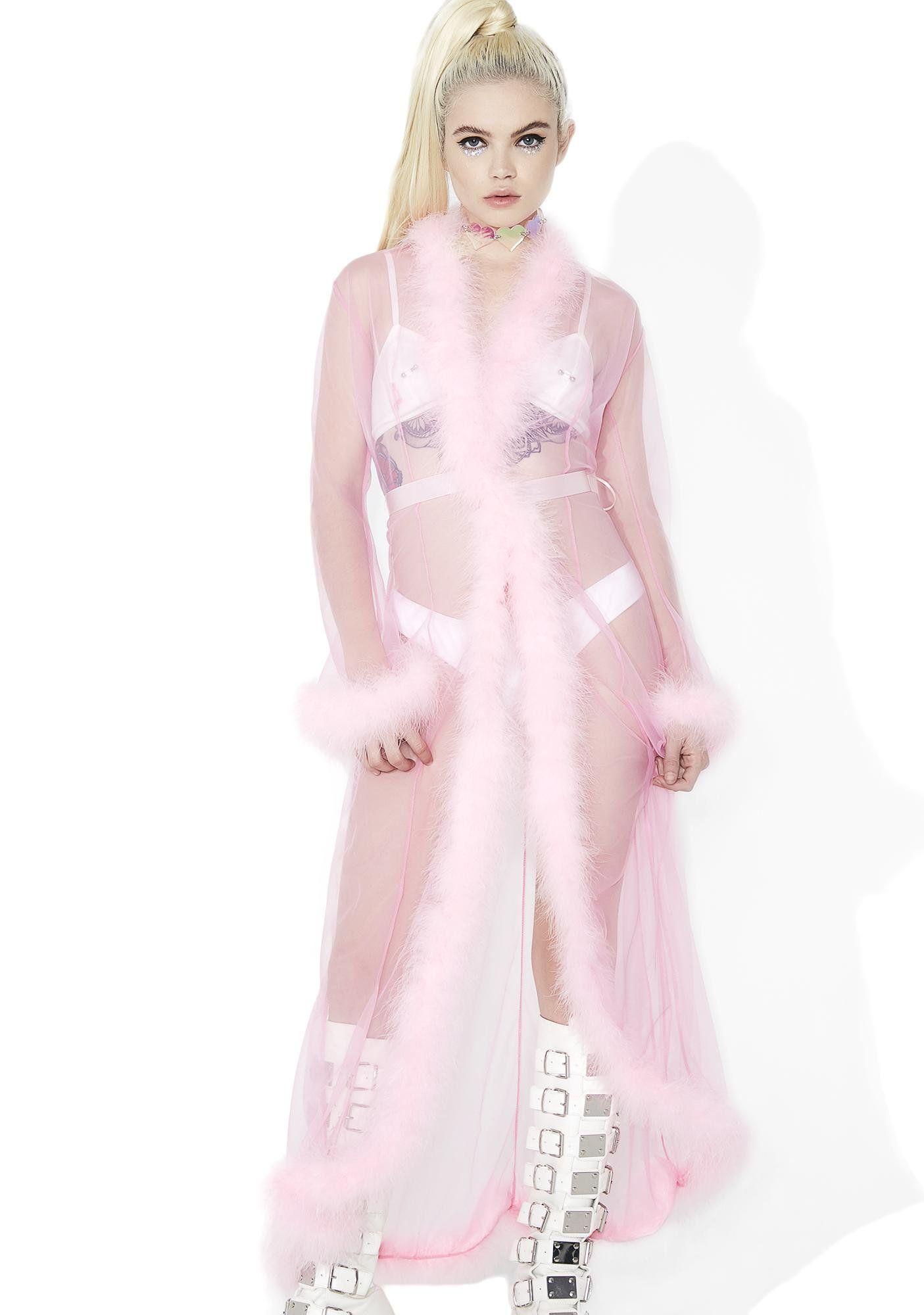 Sweet Bardot Sheer Feathered Robe Party outfit, Kawaii