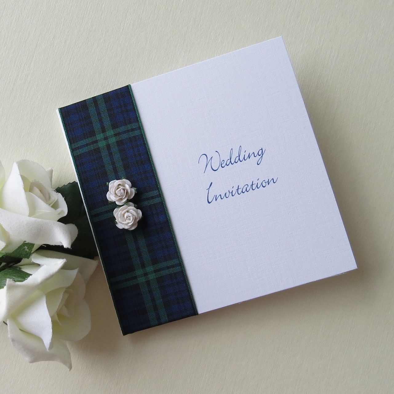 Black Watch Tartan Rose wedding invitation