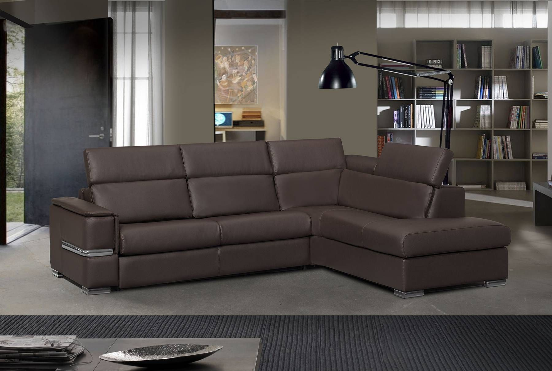 Contemporary Italian sectional sofa in dark brown stitched leather