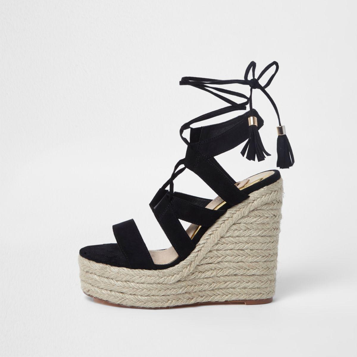 Black Lace Up Espadrille Flatform Sandal