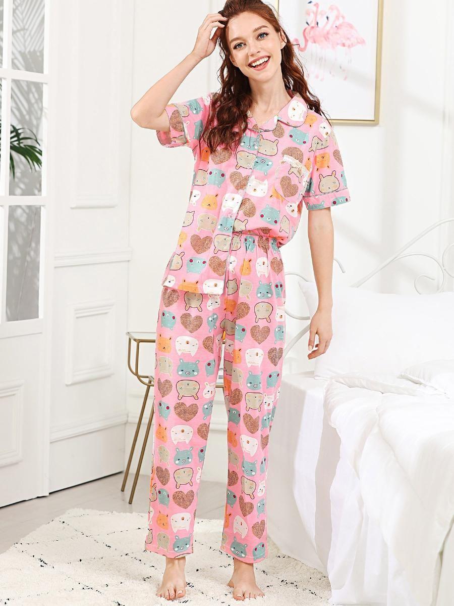 172e4130ce All Over Cartoon Print Pajama Set -SheIn(Sheinside) | pajamas 3 in ...