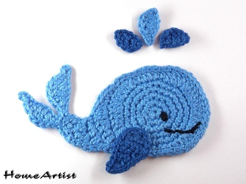 Aplicaci n en ganchillo balena aplicaci n ganchillo y - Aplicaciones de crochet para colchas ...