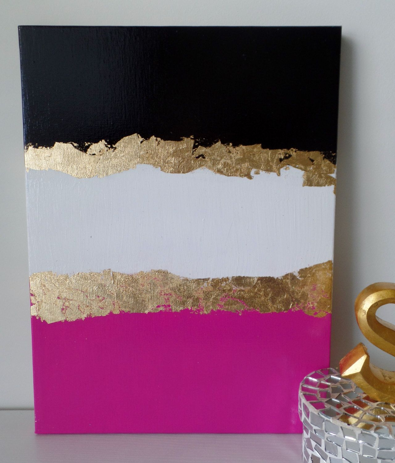 Kate spade decoration inspired dorm acrylic canvas for Gold home decorations