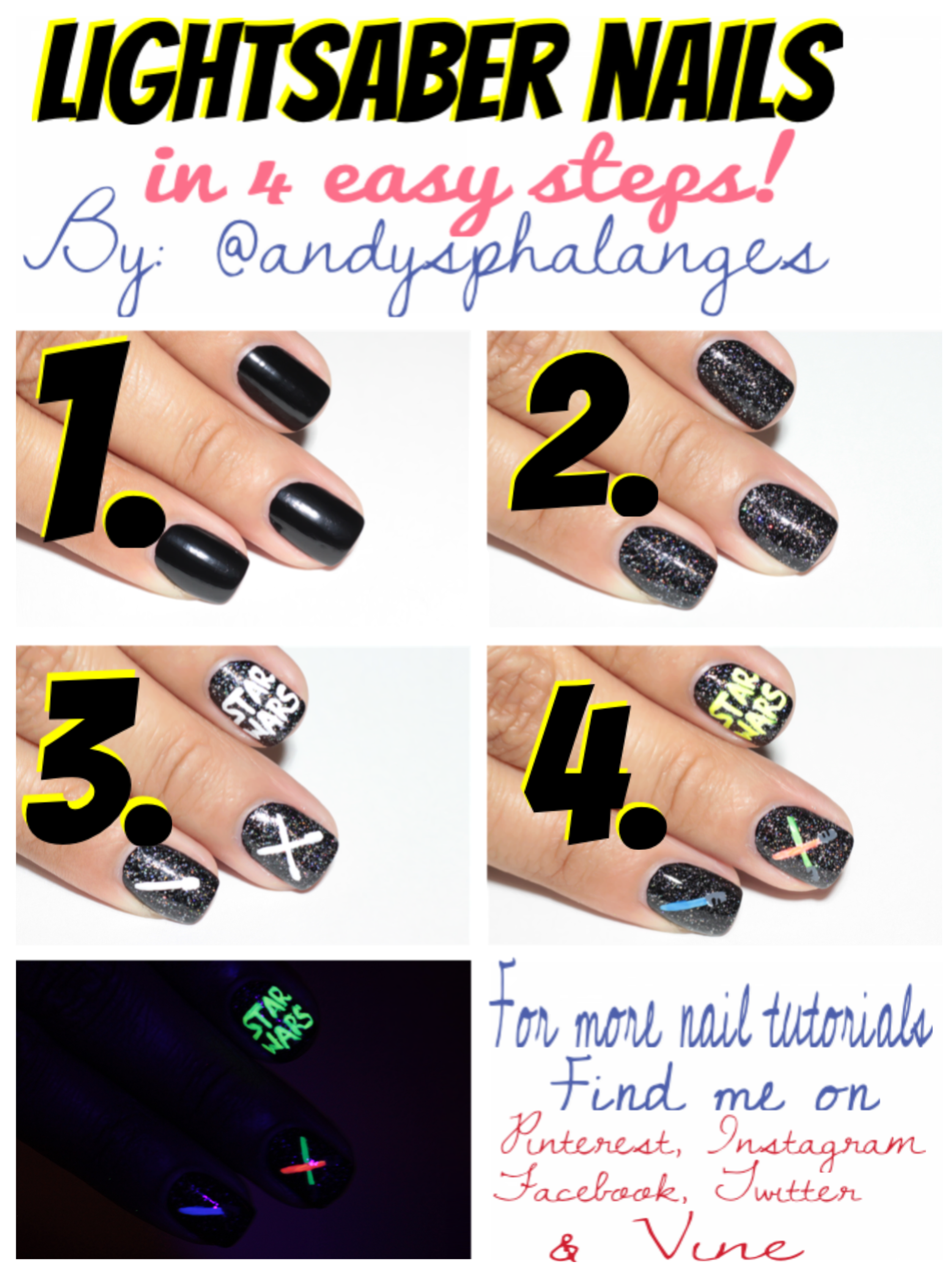 May The 4th Be With You Star Wars Nails Colorful Nail Designs Party Makeup Tutorial