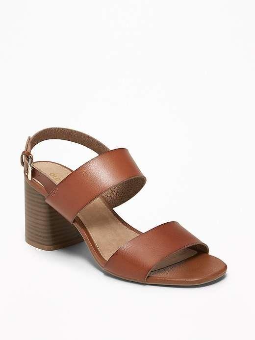 3a8d3a12b72 Old Navy Women s Faux-Leather Slingback Block-Heel Sandals Black ...
