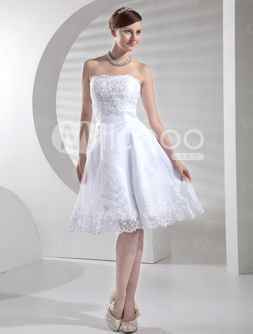 Casual Strapless Sweetheart Satin Lace Reception Dress For Bridal ...