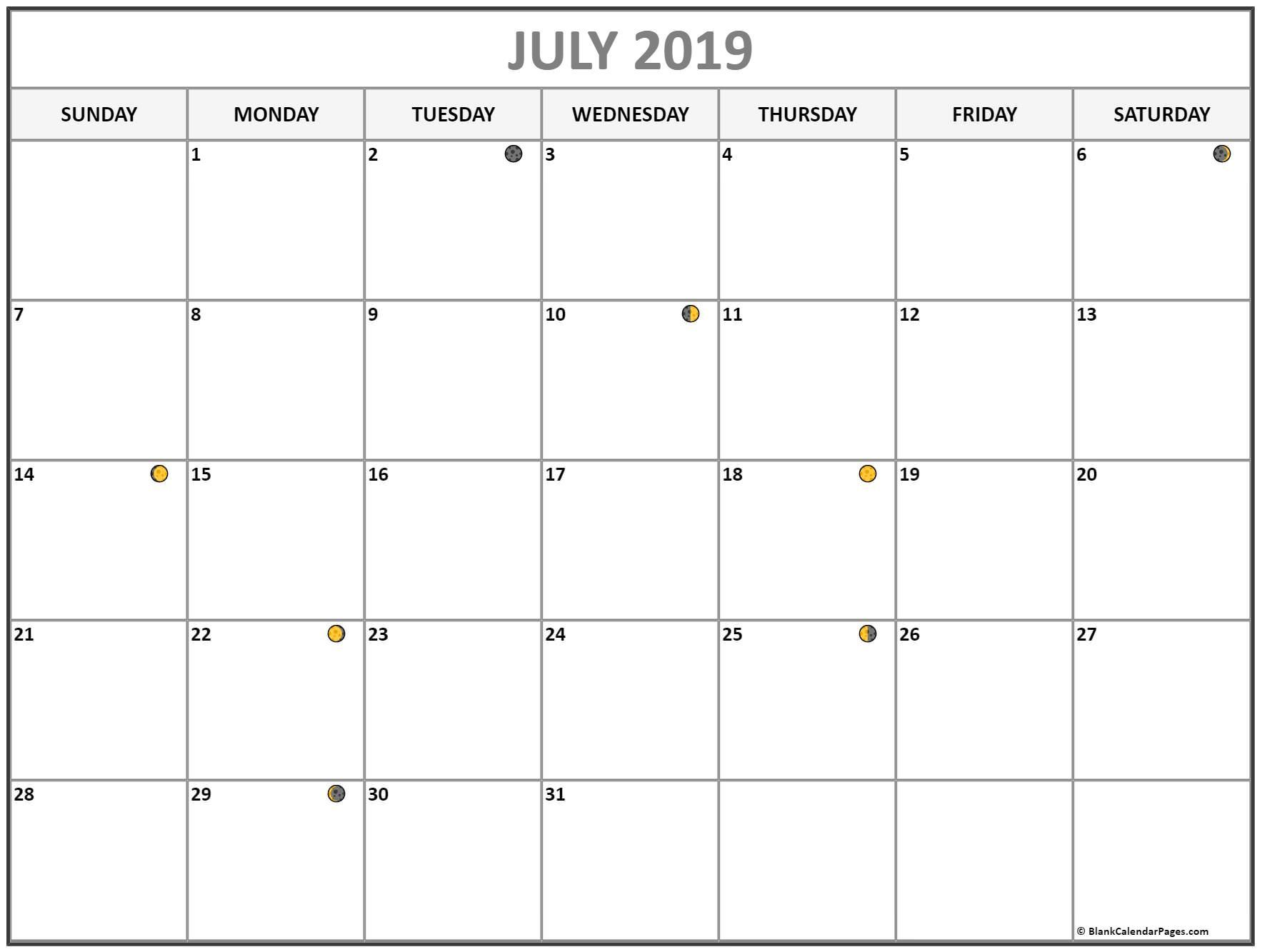 Free July Moon Phases Calendar Template