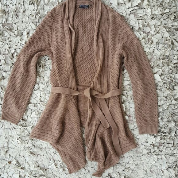 Brown Drapey Cardigan Soft brown sweater with waist tie. Small hole and tear shown in the photos above. Not positive of the brand, listed as old navy. Old Navy Sweaters Cardigans