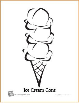 triple scoop ice cream cone birthday free printable coloring page