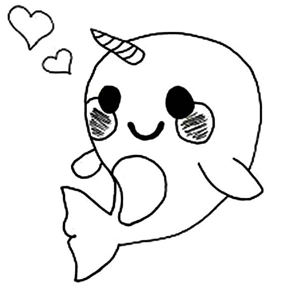 Cute Baby Narwhal Coloring Pages | Kiarah\'s 10th | Animal coloring ...