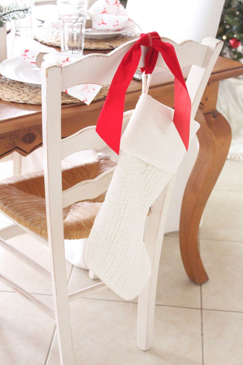 Cute idea from Starfish Cottage: hang stockings on backs of dining chairs if you don't have a fireplace mantle! http://kristyseibert.com/blog/2014/12/starfish-cottage-kitchen-christmas-tour-2014.html