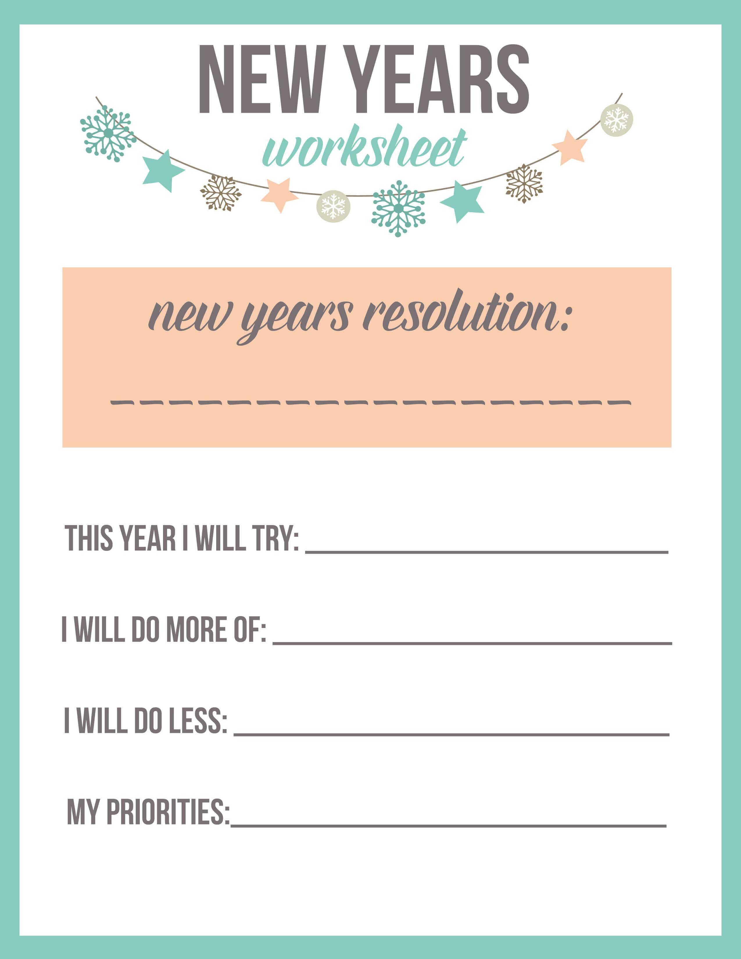 New Year S Resolution Worksheet Printable