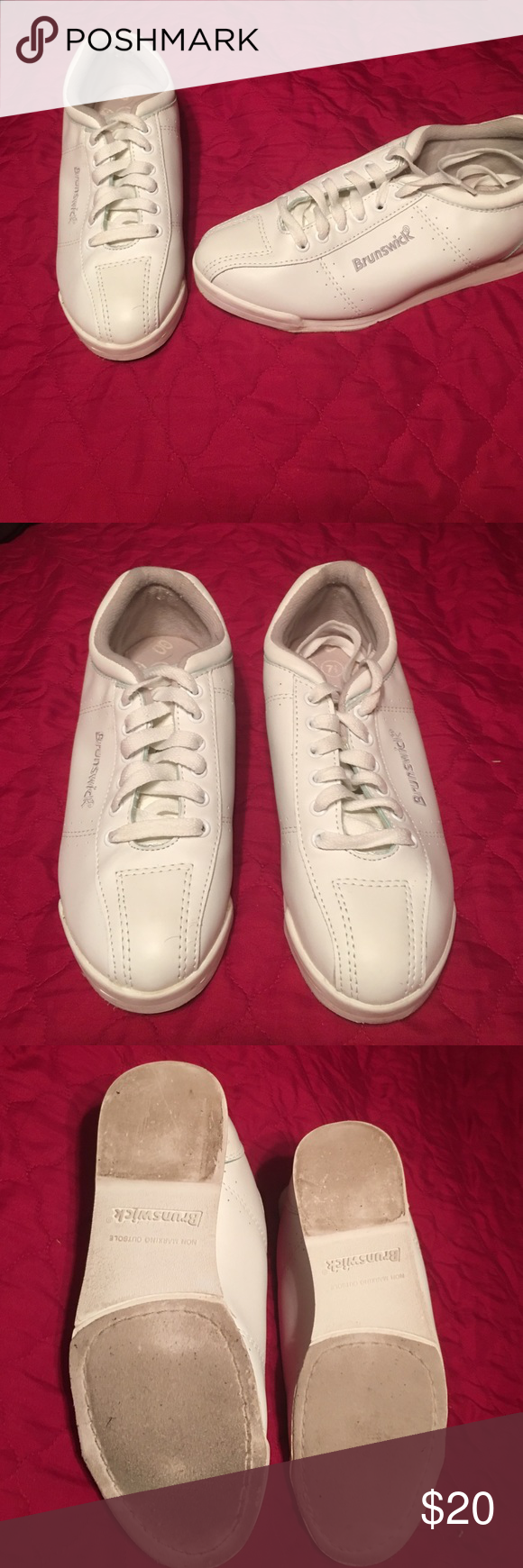 Brunswick bowling shoes Brunswick white bowling shoes 7.5. Used three times. Got all gungho and bought everything like I was some kind of pro! Strutted my stuff about three times and never went back. Lol. brunswuck Shoes Athletic Shoes