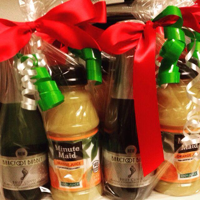 Mini champagne & orange juice . Mimosa time , party favor ...