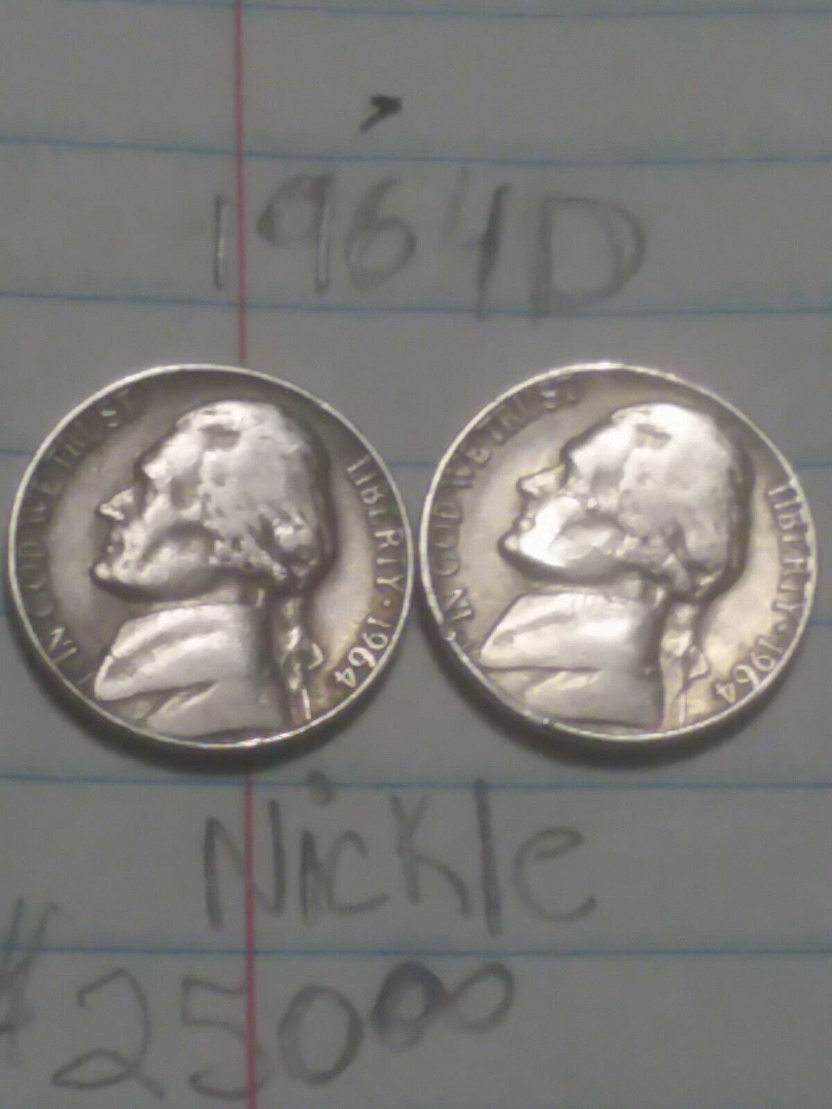 1964-D United States Jefferson Nickel 5c Coin WITH ERRORS