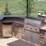 Inspiring Outside Kitchen Island Modular Outdoor Kitchens Costco Brown Stone With Silver Tools For Cooking Lowe S Islands
