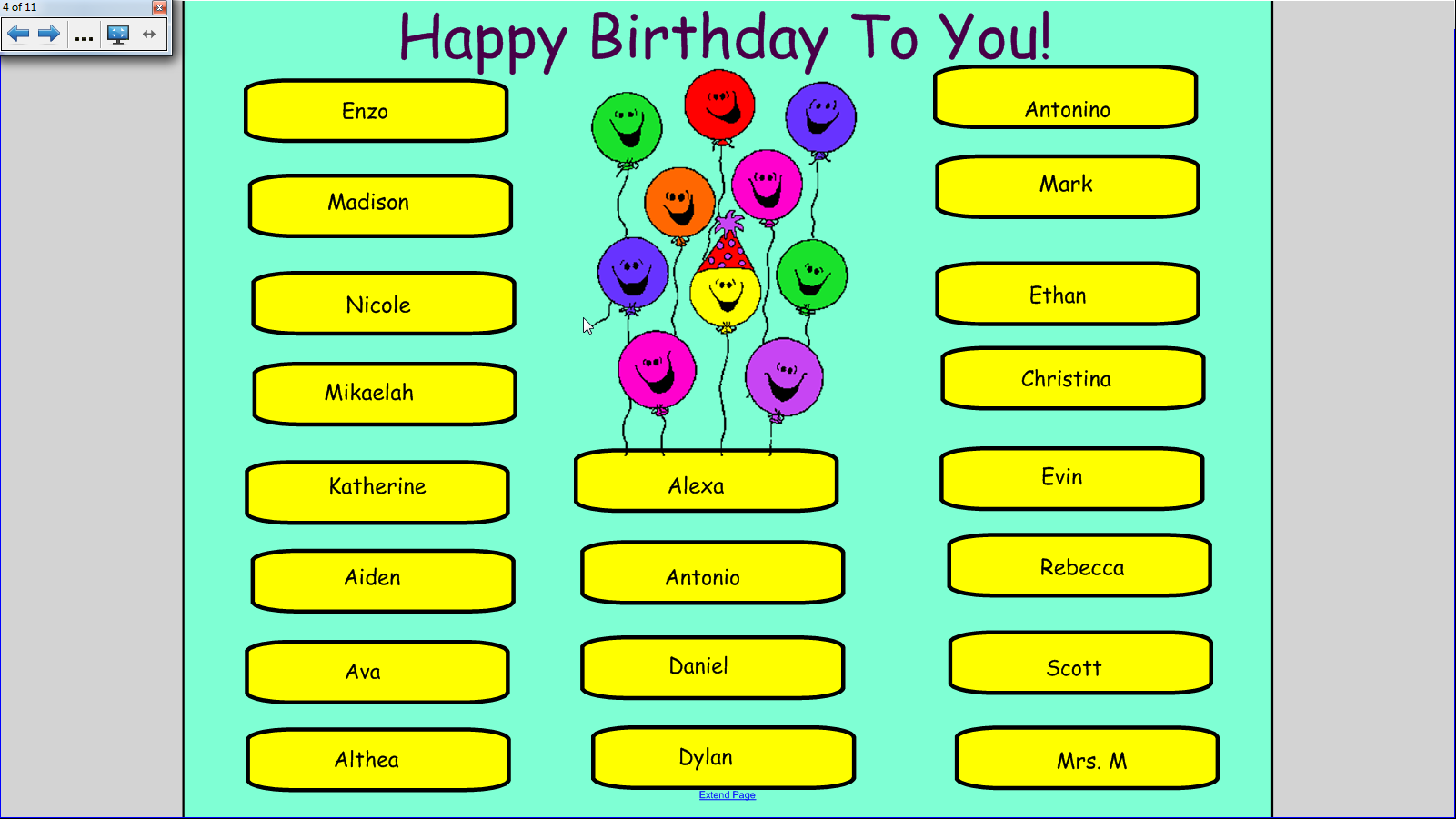 Birthday Bar Graph This Site Links To A Smart Board