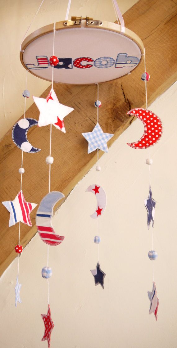 Boys Cot Mobile Moon And Stars Baby Crib Or Ceiling Nursery Decor