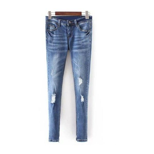 Bleach Wash Skinny Ripped Jeans (€23) ❤ liked on Polyvore featuring jeans, destroyed skinny jeans, blue jeans, distressed skinny jeans, skinny jeans and blue skinny jeans