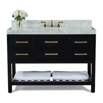 Ancerre Designs Elizabeth 60 In Black Onyx Double Sink Bathroom
