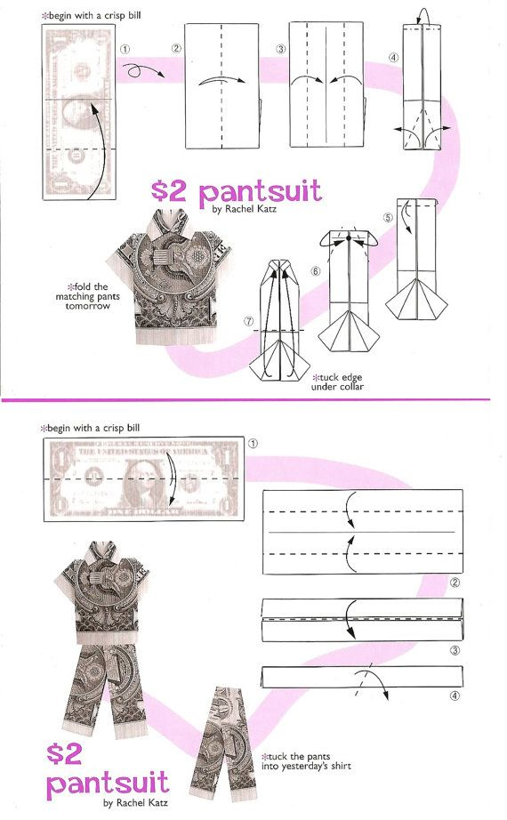 Shirt pants diagram money origami money dollar for How to make a shirt with money
