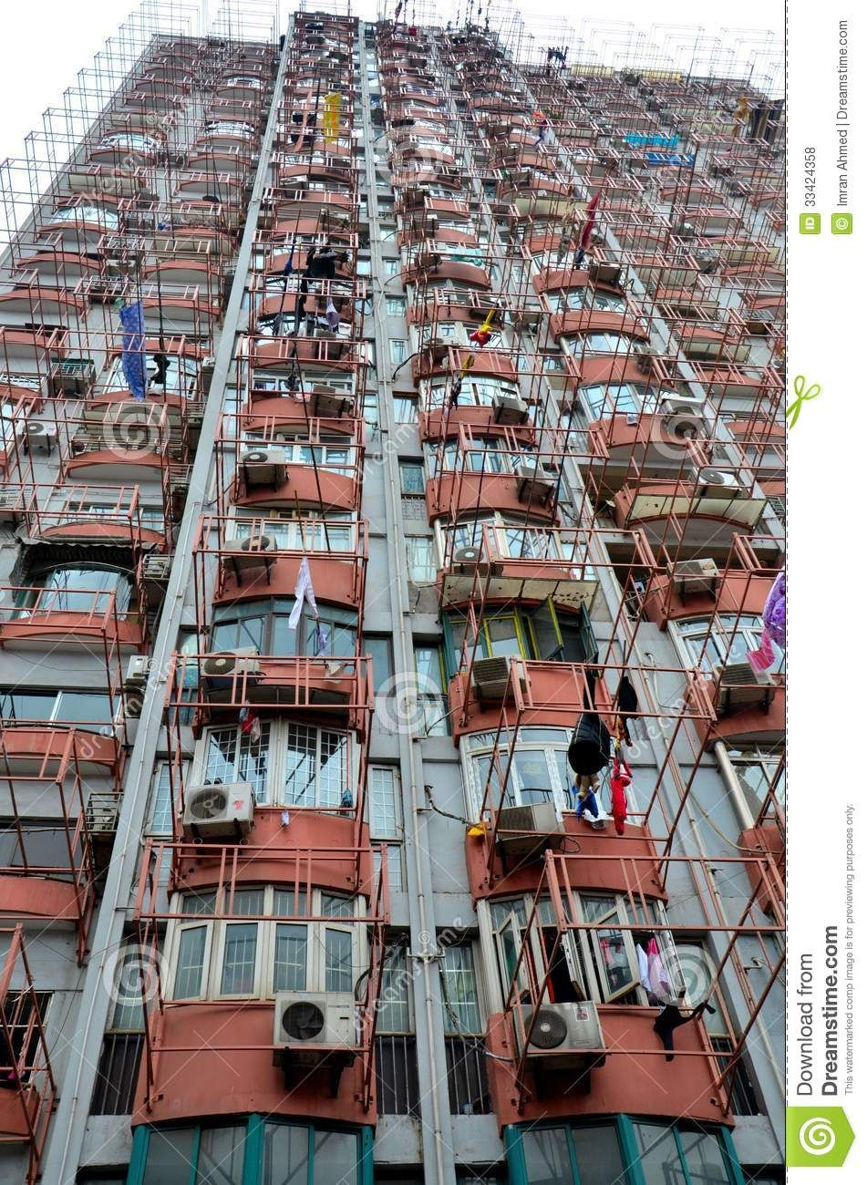 Hanging Laundry On Shanghai High Rise Building High Rise