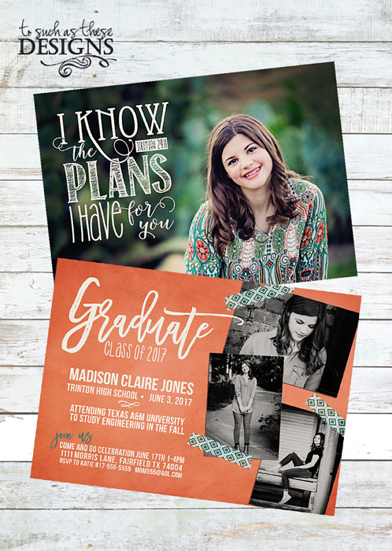 Scripture Digital Graduation Announcement Jeremiah 29 11 Overlay