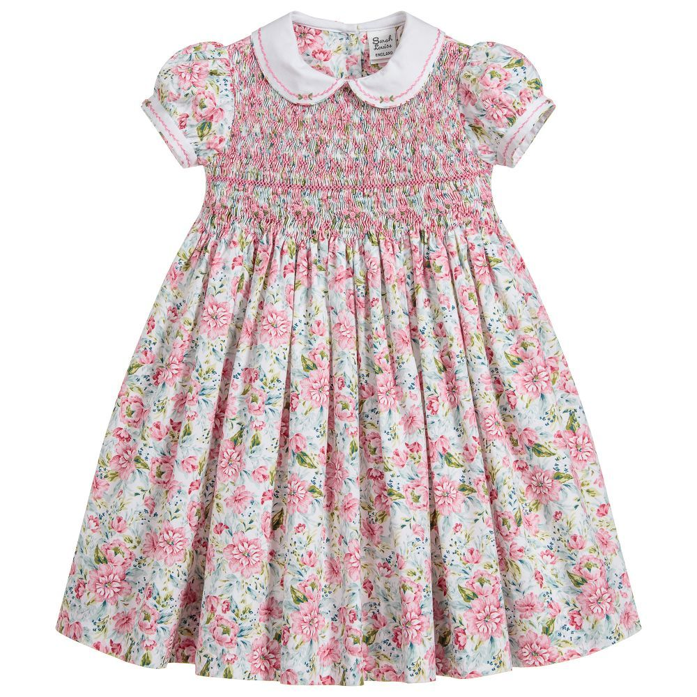 f648edce050a Girls ivory traditional heritage style dress by Sarah Louise, with a pink,  green and