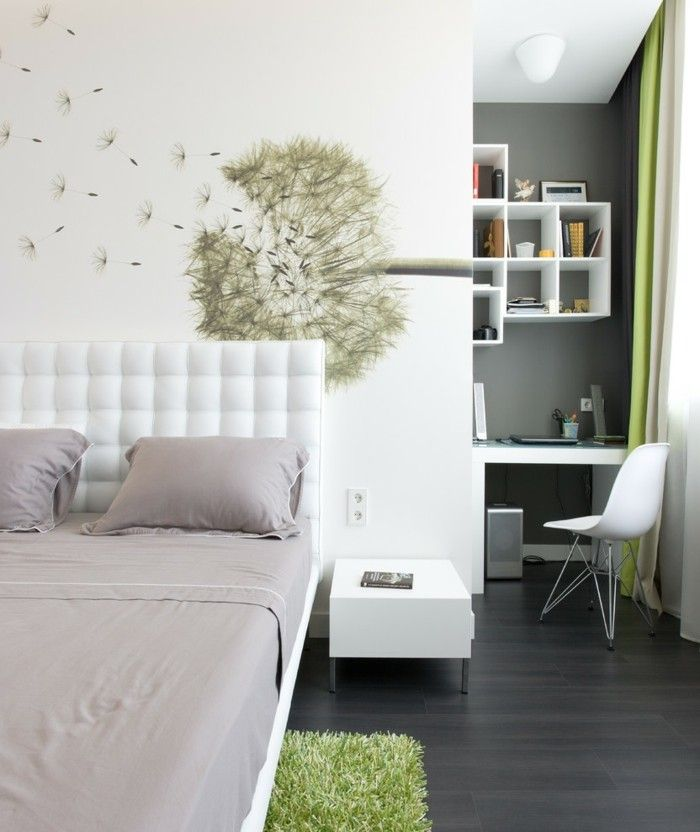 schlafzimmer deko ideen wand dekoideen pusteblume wei e w nde gr ner teppich dunkler boden. Black Bedroom Furniture Sets. Home Design Ideas