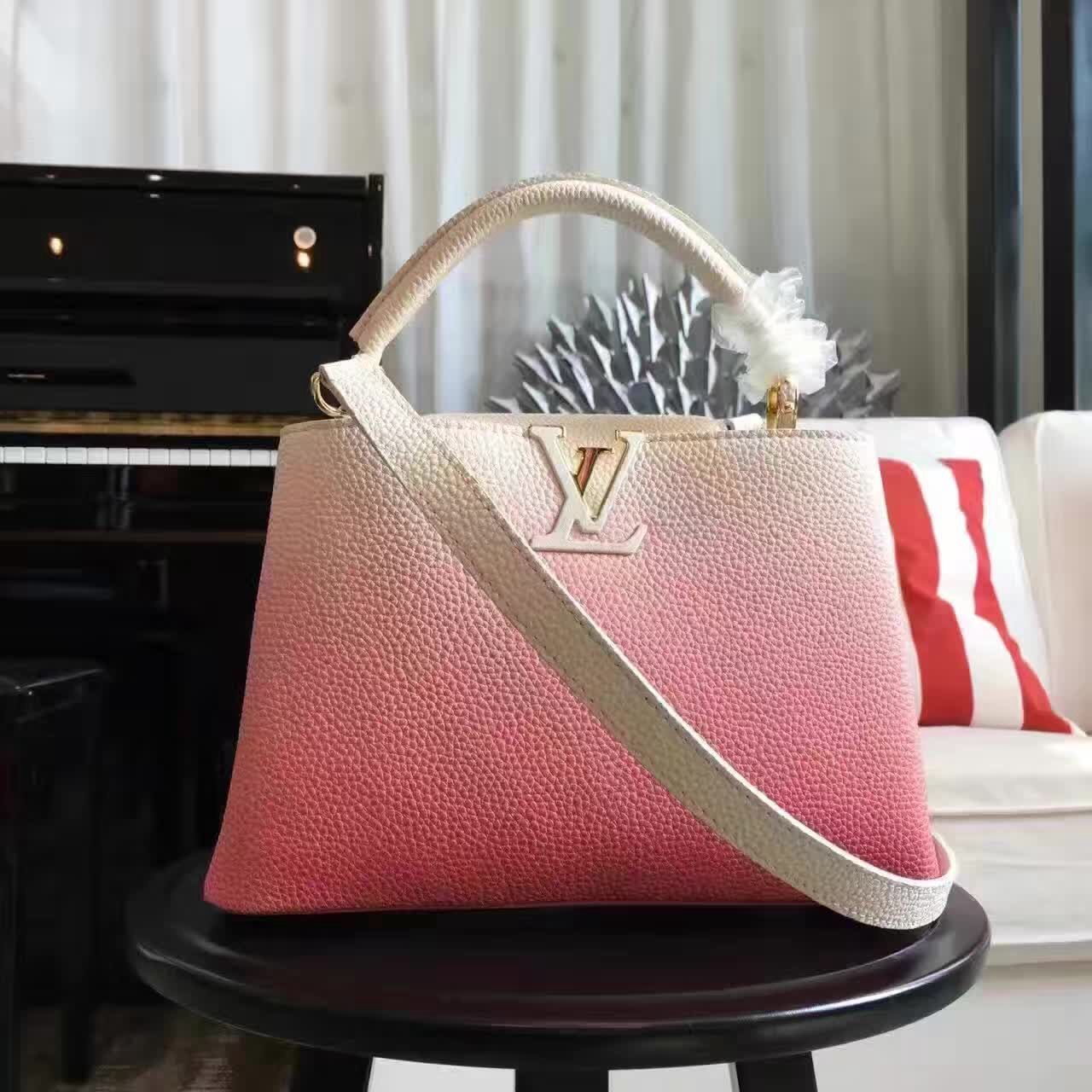 Louis Vuitton Grained Calfskin Capucines Bag In Gradient Color Pink BB F W  2016 d3fb307cfd