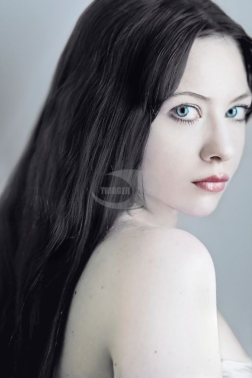 A Close Up Of A Girl With Black Hair And Pale Skin Black Hair