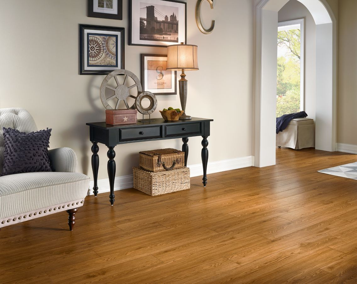 Armstrong luxury vinyl plank flooring lvp oak gunstock wood look entryway ideas
