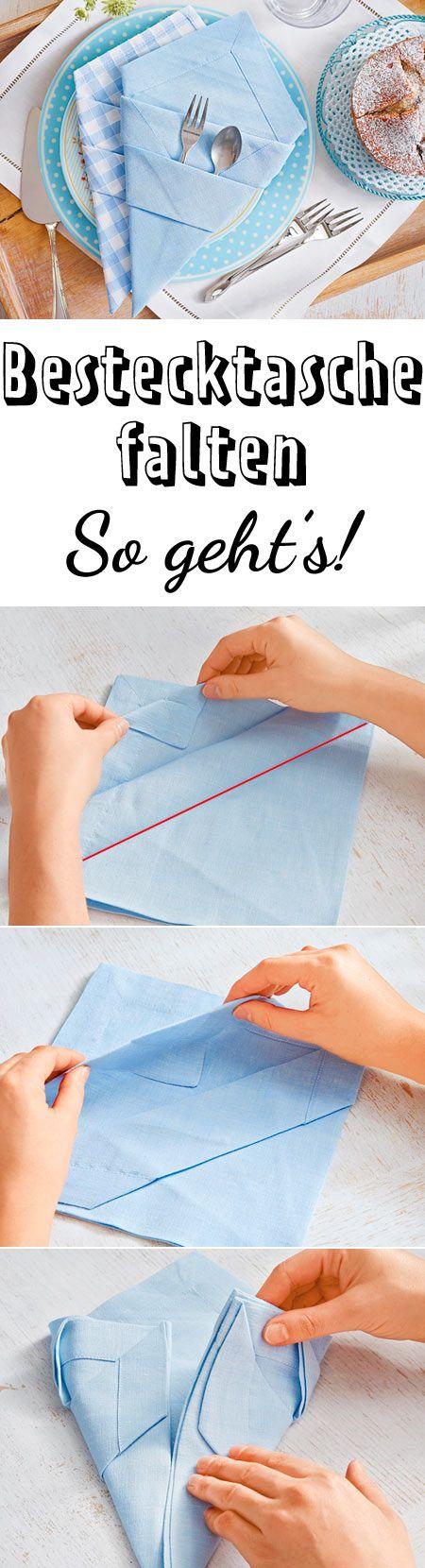 Bestecktasche falten aus servietten so geht 39 s - Servietten dekorativ falten ...