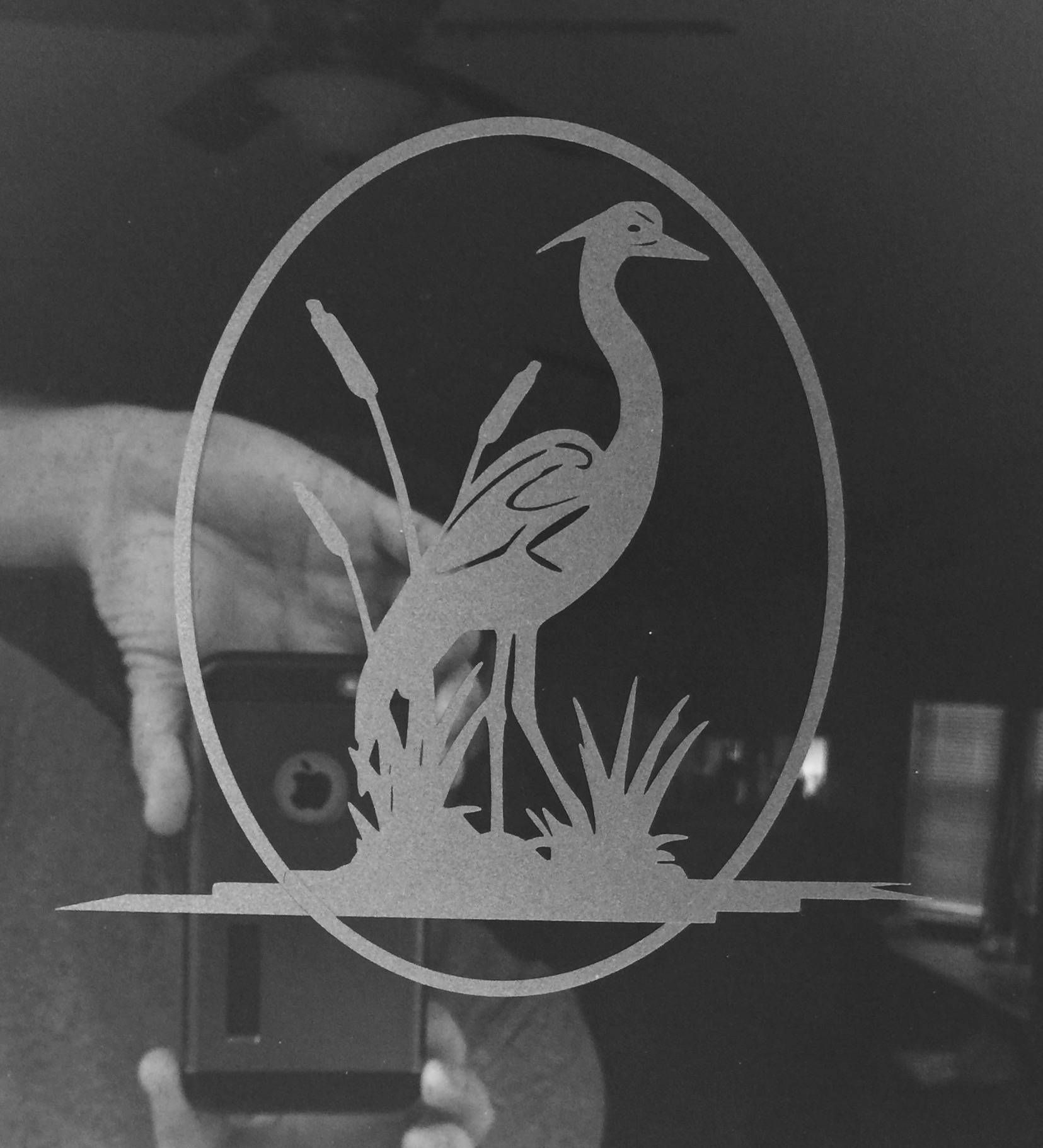 Whooping crane bird glass door etched decals choose size window whooping crane bird glass door etched decals choose size window decal sliding door decals planetlyrics Gallery