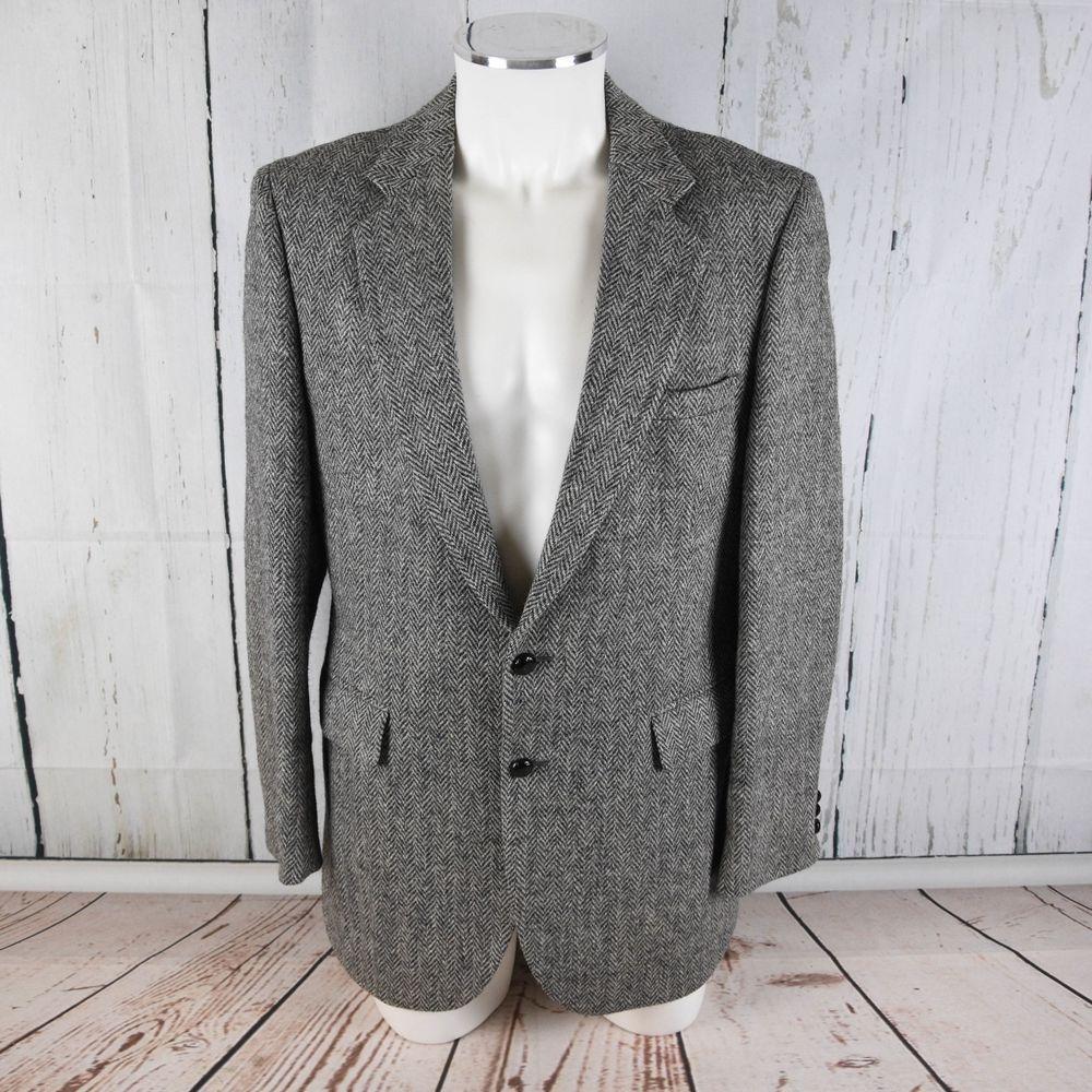Handwoven Scottish Wool Herringbone 100/% Wool Blazer Sz 42R Men/'s Brown Suit Jacket 1970s Dark Brown HARRIS TWEED Mens Sport Coat