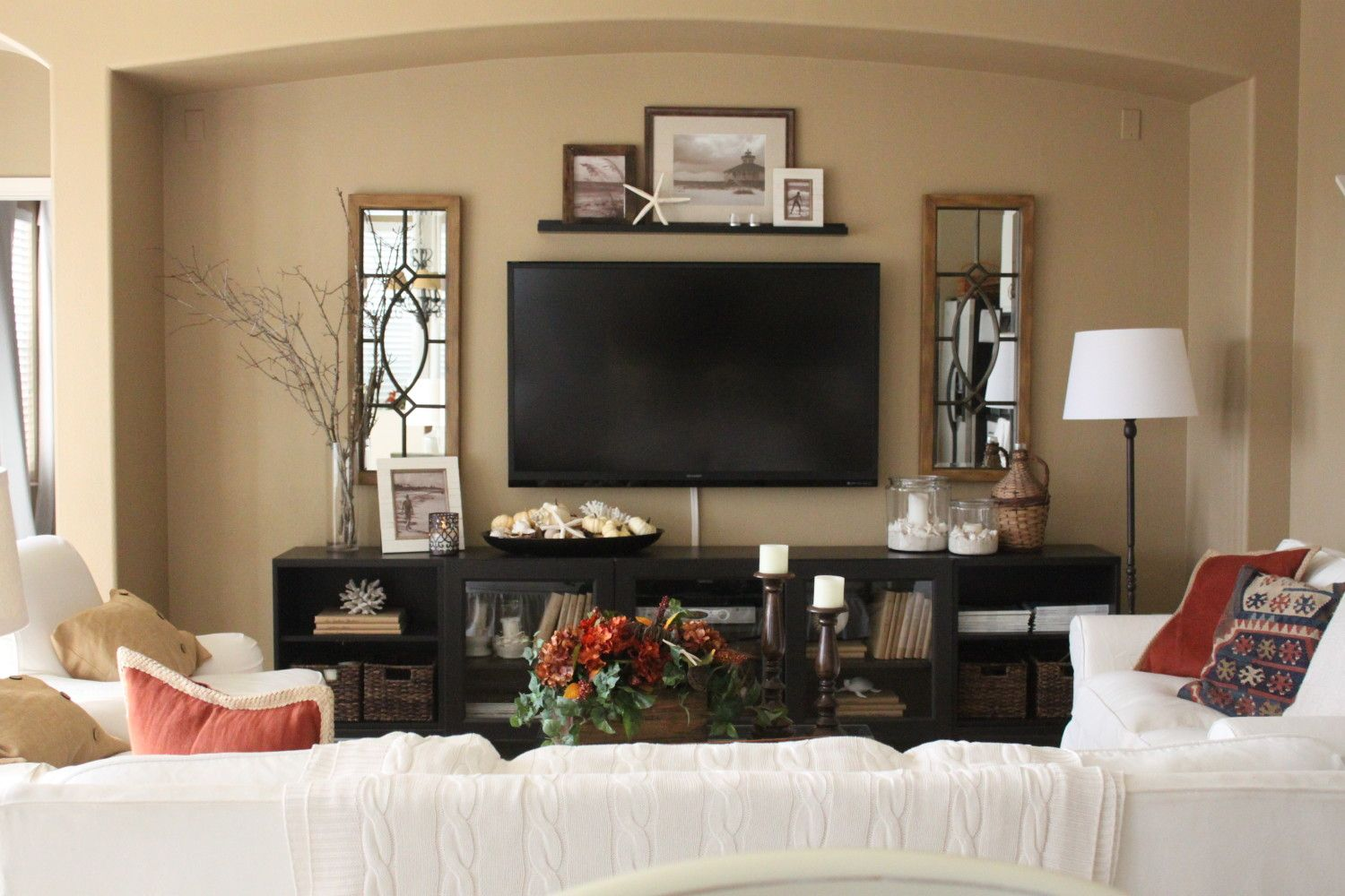 Surround tv with art/mirrors | Living Room | Pinterest ...