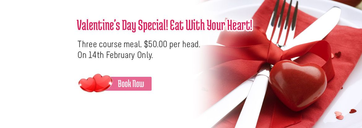 Valentine's Day Special! Eat With Your Heart!  Three course menu. $50.00 per head. On 14th February Only.   Book Now: http://www.shavans.com.au/book-online.html