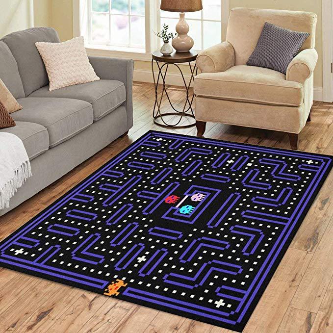 Amazon Com Pinbeam Area Rug 80s 8 Bit Pixel Retro Arcade Game Old