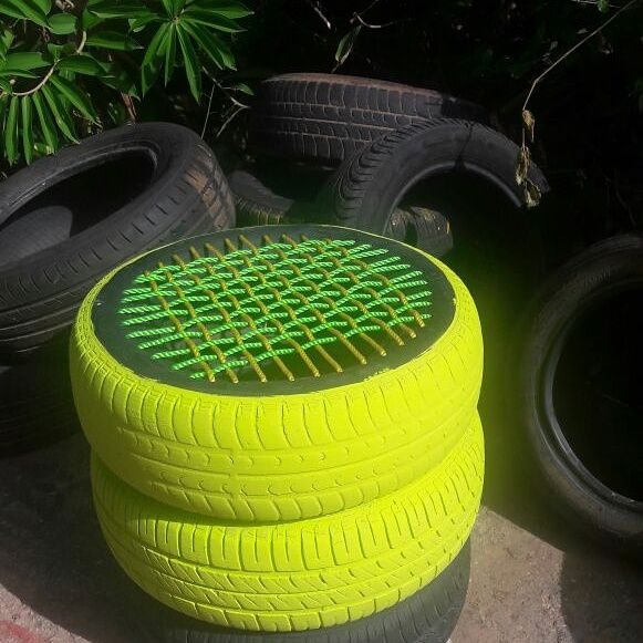 We Love Neon Neon Tyre Seats By Onceuponatyre Tire Furniture Tire Seats Upcycled Home Decor