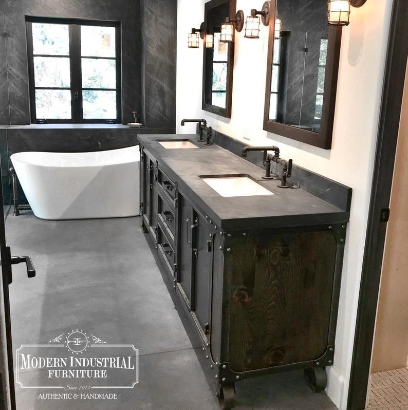 Photo of Moderne industrielle Badezimmer Eitelkeit Basis | AMBOSS | Steinplatte | Sideboard | Stahl-Buffet-Kabinett