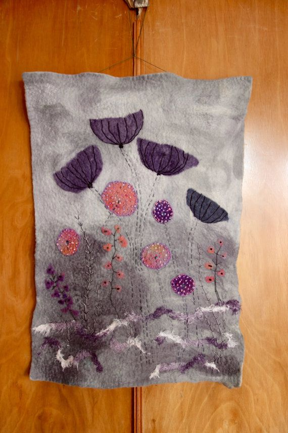 Felted Embroidered Wall Hanging Wet Felted Wall Art Etsy Felt Wall Hanging Felt Pictures Hanging Flower Wall