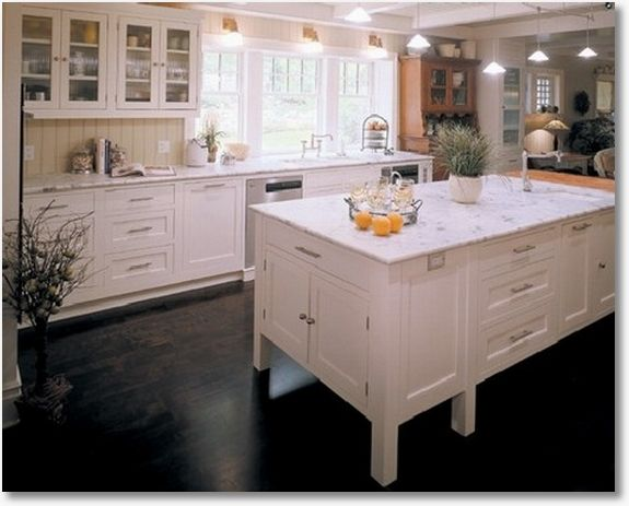 Love the dark floors with the white/light cabinetry Beautiful
