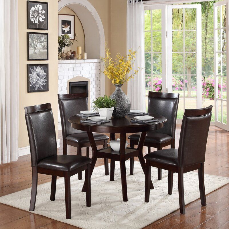 Red Barrel Studio Marjorie 5 Piece Dining Set Reviews Wayfair Round Wood Dining Table Round Dining Table Sets Solid Wood Dining Set Wayfair dining table and chairs