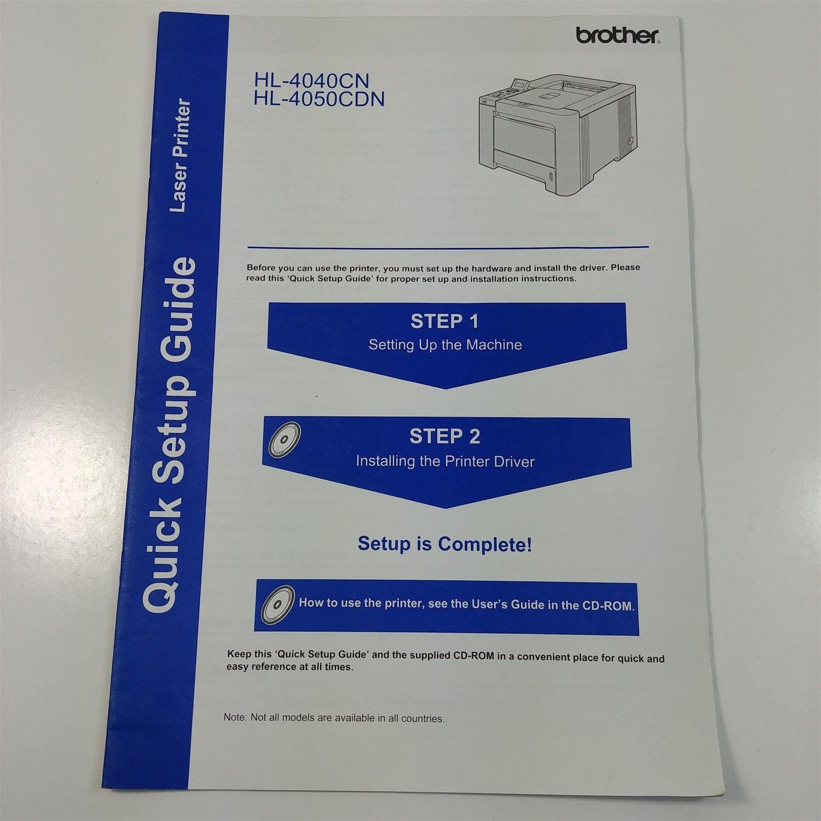 Brother HL-4040CN HL-4050CDN Printer Owner's Manual & Quick Setup Guide