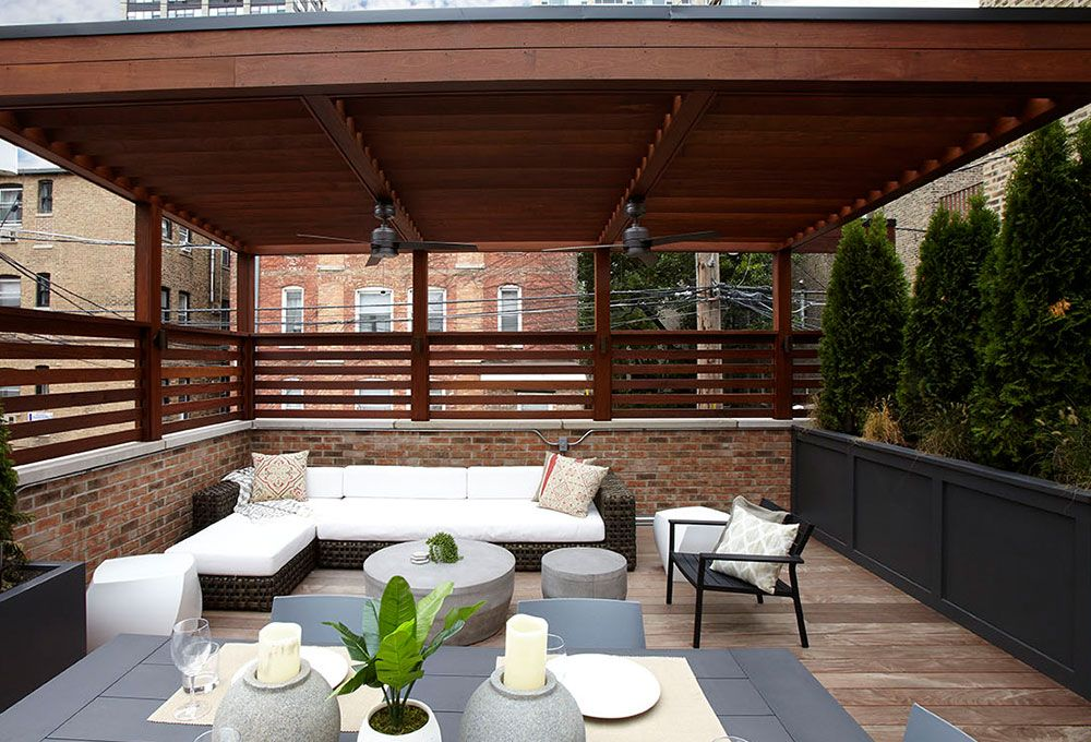 Ipe Pergola By The Park Chicago Roof Deck Garden Pergola Deck Garden Garden Design