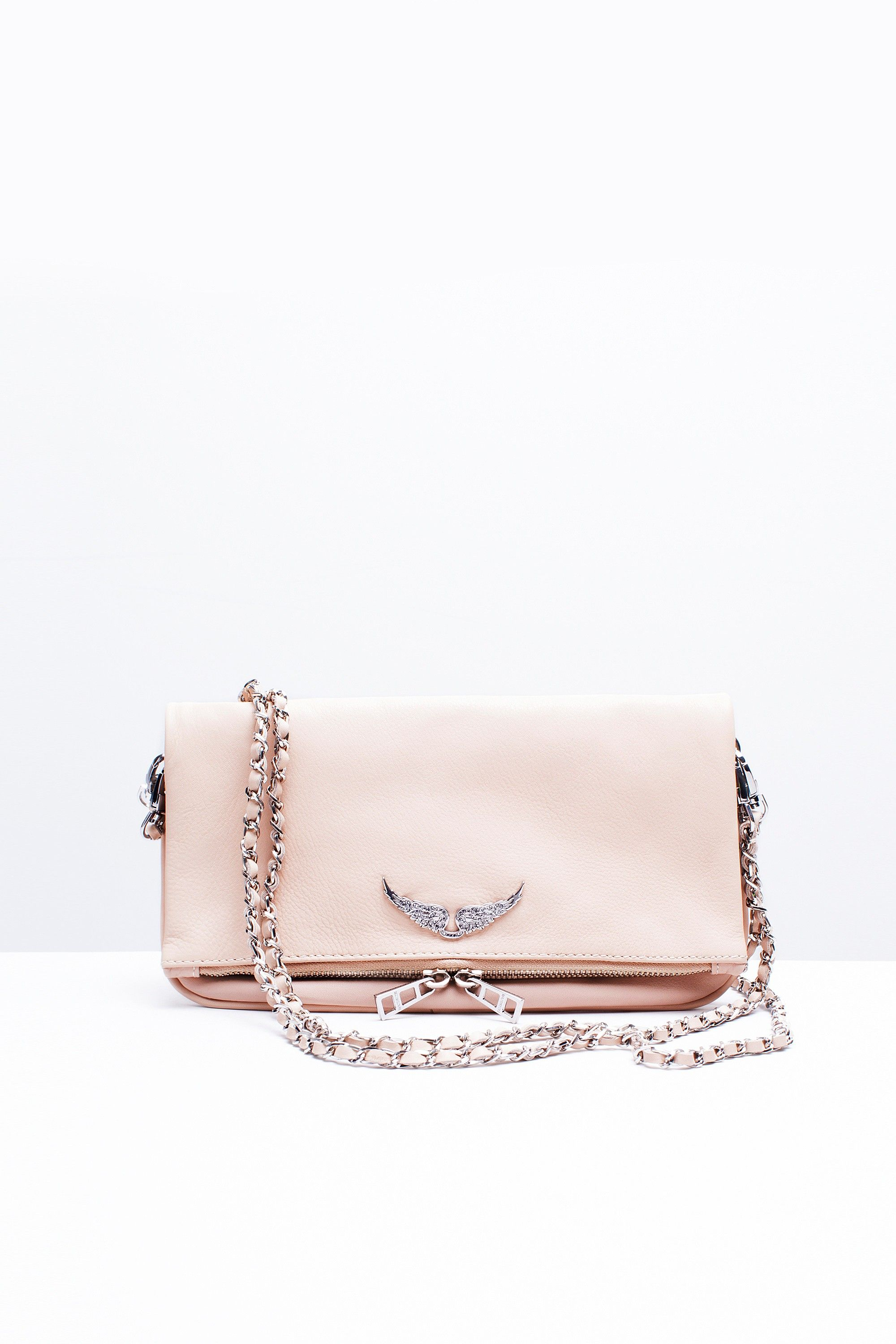 7f87b49c7a Zadig & Voltaire zip clutch, two removable chains interlaced with  leather, can be