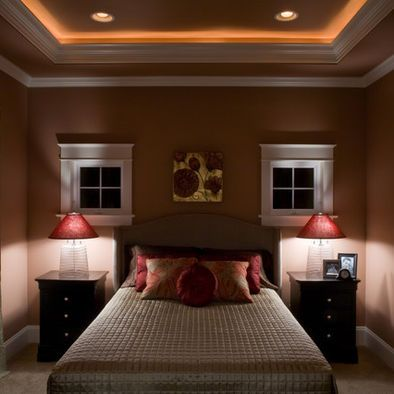 Lighted crown molding i would like this in my bedroom but for Crown molding bedroom ideas