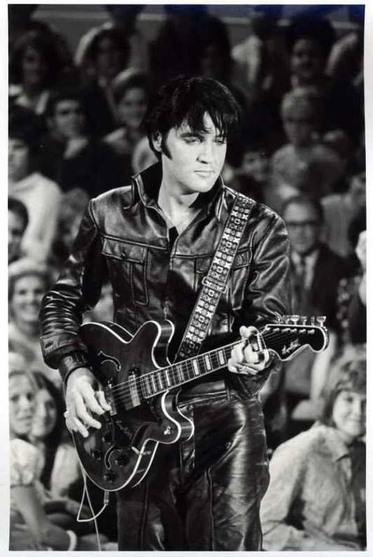 Elvis in black and white in black leather   1968